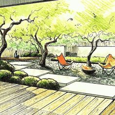 Best Photographs Zen Garden sketch Style You will find modern gardens, contemporary gardens, Zen gardens, stone gardens, and a lot of others. Landscape Architecture Drawing, Landscape Sketch, Landscape Design Plans, Landscape Drawings, Zen House, Garden Drawing, Garden Planning, Garden Projects, Garden Landscaping
