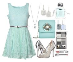 """Mint Lace Belted Dress"" by bethy-s ❤ liked on Polyvore featuring mode, Aromachology, Platinum Heart, Weekend Max Mara, Glamorous, Chinese Laundry, BERRICLE, Essie, New CID Cosmetics en Christian Dior"