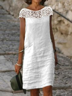 Linen Dresses, Casual Dresses, Fashion Dresses, Summer Dresses, Casual Wear, Women's Dresses, Straight Dress, Dress Brands, Dress Patterns