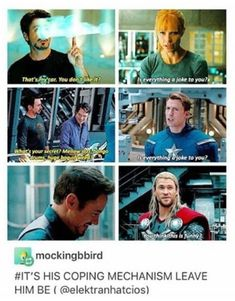 Tony Stark's coping mechanism Funny Marvel Memes, Dc Memes, Avengers Memes, Marvel Jokes, Marvel Dc Comics, Marvel Avengers, Johnlock, Destiel, Iron Man Tony Stark