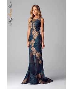 Alberto Makali 184422 lace applique evening gown.