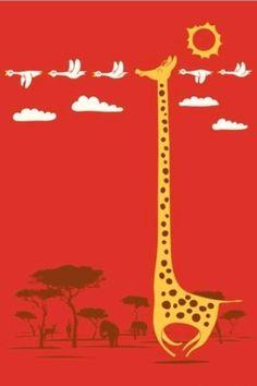 Giraffe and pretty birds!