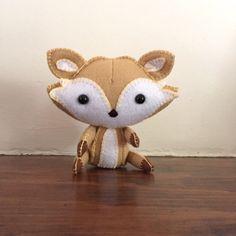 Wool felt fox / stuffed fox /plush fox toy / golden brown fox / fox nursery decor / toy gift by EverSewNice on Etsy https://www.etsy.com/listing/500370574/wool-felt-fox-stuffed-fox-plush-fox-toy