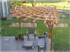Wow, a corner pergola. 24 Inspiring DIY Backyard Pergola Ideas To Enhance The Outdoor Life Diy Pergola, Corner Pergola, Wooden Pergola, Outdoor Pergola, Outdoor Decor, Pergola Lighting, Pergola Roof, Cheap Pergola, Metal Pergola