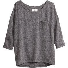 H&M Jersey top ($6.48) ❤ liked on Polyvore featuring tops, shirts, sweaters, long sleeves, dark grey, shirt tops, long sleeve jersey top, 3/4 sleeve tops, three quarter sleeve shirts and embellished tops