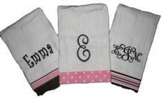 Personalized Burp Cloths from MyBowdaciousDesigns.com