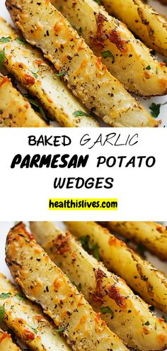 INGREDIENTS  3-4 large russet potatoes, sliced into wedges 4 tablespoons olive oil 2 teaspoons salt 2 teaspoons garlic powder 2 teaspoons Italian seasoning ½ cup shredded parmesan cheese optional: fresh parsley (or cilantro), ranch or blue cheese dressing for dipping #weightwatchers #garlic
