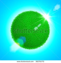 Vector Save the Earth globe grass ball. Eco poster illustration of green sphere with lens flare sun light on blue background