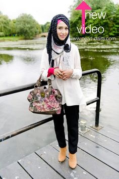 Want to have a fab asymmetrical hijab look? Watch this tutorial.. ~ Her FASHION