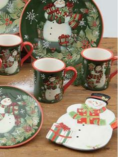 Holiday Dinnerware Snowman | Country Christmas Decorations from The Weed Patch :: A ...