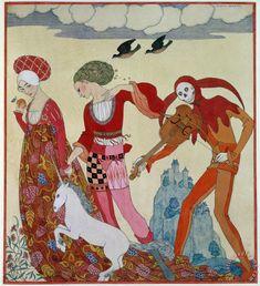 Жорж Барбье (французский, 1882 - 1932) - Любовь Желание и смерть.