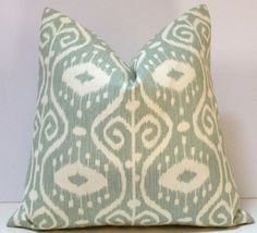 Ikat Pillow Cover Ivory & BlueGreen Cushion Toss by CuscinoBello, $27.00