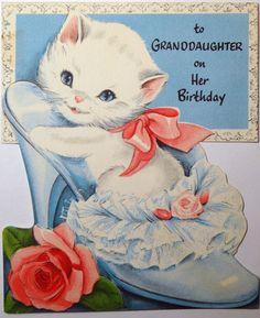 kitty in slipper vintage greeting