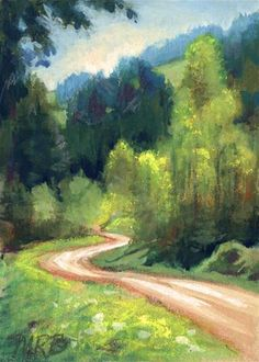 """""""The Long and Winding Road"""" - Original Fine Art for Sale - © Mary Rochelle Burnham"""