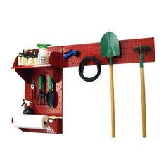 Wall Control Pegboard Garden Tool Board Organizer Kit - Red Red with Red Accessories - 30-GRD-200 RR