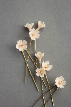 Whisper - Floral Hair Pins, blush and gold tones. Available at BethAnn's Boutique in Fairfield Connecticut Wedding Hair Pins, Wedding Hair Flowers, Headpiece Wedding, Bridal Headpieces, Flowers In Hair, Wedding Veils, Wild Flowers, Wedding Dresses, Blush Flowers