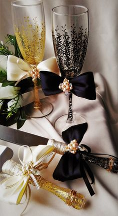 Wedding сhampagne glasses and cake server and knife black & gold bride and groom set of 4 wedding toasting flutes personalized glasses  For