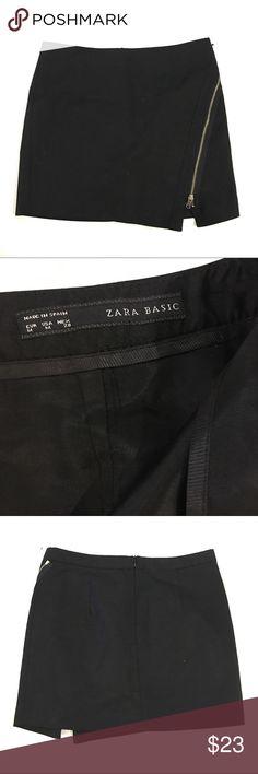 NWOT Zara Side Diagonal Zip Black Mini Skirt #16 Zara Skirts Mini