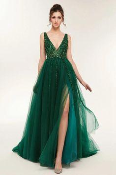Tulle Prom Dress, Grad Dresses, Slit Dress, The Dress, Homecoming Dresses, Party Dresses, Long Dresses, Bridesmaid Dresses, Green Prom Dresses