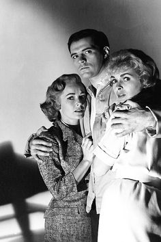 """Publicity shot for Hitchcock's """"Psycho"""" with Vera Miles, John Gavin and Janet Leigh. Miles and Leigh played sisters, but did not appear together in the film. Hollywood Cinema, Vintage Hollywood, Classic Hollywood, Vintage Vogue, Janet Leigh Psycho, Movie Stars, Movie Tv, John Gavin, Nostalgia"""