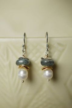 Unique handmade gemstone and pearl dangle silver earrings for women