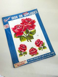 Vogart Fabric Iron On Appliques 1950s Red Red Roses