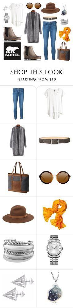 """""""Kick Up the Leaves (Stylishly) With SOREL: CONTEST ENTRY"""" by christawallace on Polyvore featuring SOREL, Frame Denim, H&M, Reptile's House, rag & bone, Reed Krakoff, David Yurman, Calvin Klein, Edge of Ember and sorelstyle"""