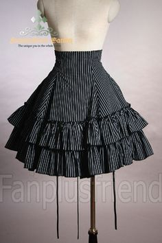 fanplusfriend - Classical Gothic Lolita:Bustle Tiered Cotton Skirt, £38.04 (http://www.fanplusfriend.com/classical-gothic-lolita-bustle-tiered-cotton-skirt/)