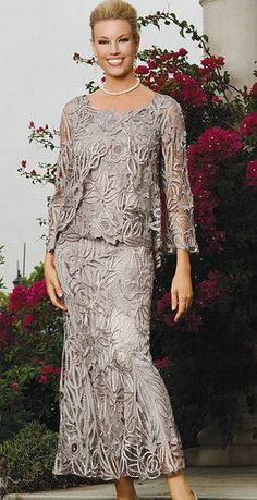 Soulmates D1104  Pamper yourself with a luxurious hand crocheted silk ensemble by Soulmates. This three piece skirt set will make you the envy of every woman in the room as you emanate elegance in this delicately beaded handmade outfit.  Lightweight and wrinkle free it is perfect for all weather and events making it an essential for your formal wardrobe.Find this Soulmates Mother of the Bride style and other great Mother of the Bride styles at www.frenchnovelty.com