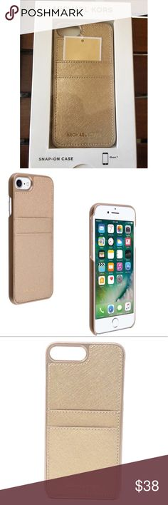 Michael Kors Gold Saffiano Leather iPhone 7 Case ➡️Discount Only With Bundle Of 2 Or More Items⬅️  Wrap your iPhone 7 in luxury with this gorgeous iPhone case. It's crafted with Michael Kors' signature Saffiano Leather & detailed with Michael Kors lettering. Two slots on the case can be used for your cards or ID.  Brand New In Box  Same Or Next Day Shipping  Visit my sister closet to see more cases and Apple Watch Bands  @boutiquelulu Michael Kors Accessories Phone Cases