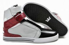 2012 New Supra Tk Society High Tops Sliver/Black/Red Men's