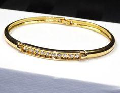 Gorgeous GOLD Rhinestone Bangle Bracelet by SellitAgainVintage, $25.00