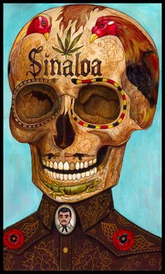 Sinaloa by Raudiel Sañudo Art And Illustration, Illustrations, Arte Do Galo, Skeleton Watches, Chicano Art, Arte Popular, Mexican Art, Skull And Bones, Affordable Art