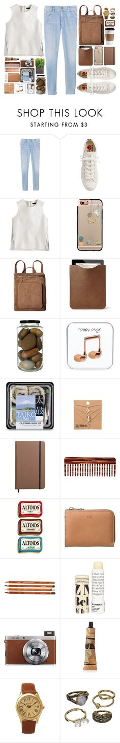 """""""'"""" by oramivedi ❤ liked on Polyvore featuring Rebecca Taylor, J.Crew, Casetify, Mulberry, Shinola, Mason Pearson, Korres, Fuji, Aesop and Sperry"""