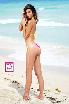 Pink Dots Small Scrunch Bikini  $39.95 www.toddbarrettswimwear.com  Mini Micro Bikini - Micro G - 3 Piece - Sexy - Puckered Back Bikini - Scrunch Back - Scrunch Butt - Todd Barrett Swimwear - TBSW - Tbswimwear - Miami Beach - Florida - Sexy - 2014 Collection - Model - Hot - SOBE - South Beach - Pink - Yellow - Polka Dots - Small Bikini - Tie Side - Fashion TV - Rachel Vallori - www.toddbarrettswimwear.com