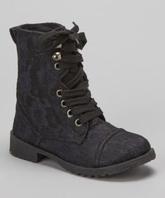 Take a look at this Black Lace Millie Combat Boot by Blue Suede Shoes on #zulily today!