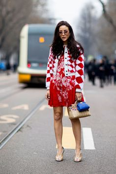 Red Patterns - The Street Style at Milan Fashion Week Was Seriously Chic - Photos