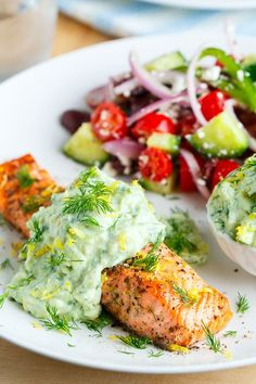 Greek Style Salmon with Avocado Tzatziki. Salmon marinated in a tasty Greek style sauce with olive oil, lemon, garlic and oregano served topped with a cool and creamy avocado tzatziki. Fish Dishes, Seafood Dishes, Seafood Recipes, Chicken Recipes, Appetizer Recipes, Healthy Recipes, Cooking Recipes, Fast Recipes, Whole30 Recipes