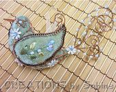 Embroidered Bird Decoration Wire Ornament Vintage green REDUCED PRICE
