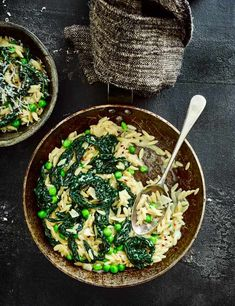 Pasta Orzo Risotto Recipe with Cavolo Nero Check out this creamy veg risotto with cavolo nero, crunchy peas and punchy chilli. Make this quick and easy recipe for a a warming midweek meal. Plus, it's low in calories too