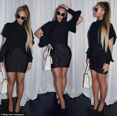 Of corset fits: Beyoncé showed off her sensational post-baby body in a black blouse and tightly-corseted skirt as she headed to the Broadway production of Aladdin on Tuesday