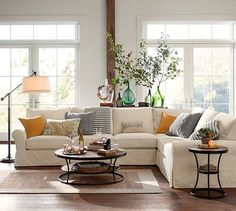 PB Comfort Slipcovered 3-Piece L-Shaped Sectional | Pottery Barn