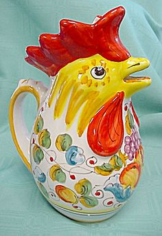 The Web's largest antiques & collectibles mall serving collectors since 1995 Ceramic Rooster, Ceramic Pitcher, Ceramic Pottery, Rooster Kitchen, Kitchen Ware, Kitchen Decor, Ceramic Chicken, Clay Birds, Doodle Doo