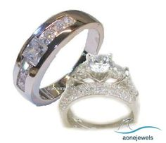 his hers 3 piece wedding engagement ring set blast gifts - 3 Piece Wedding Ring Sets