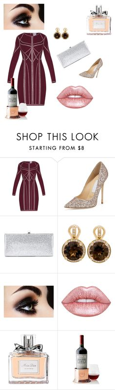 """Untitled #113"" by zandra01 ❤ liked on Polyvore featuring Hervé Léger, Jimmy Choo, Poiray Paris, Lime Crime, Christian Dior and Mark & Graham"