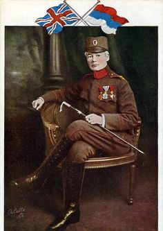 A postcard showing Sergeant-Major Flora Sandes, the only woman to fight on the frontline i...