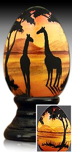 Giraffes on the Serengeti - hand painted wooden egg by The Egg Man Alan Traynor