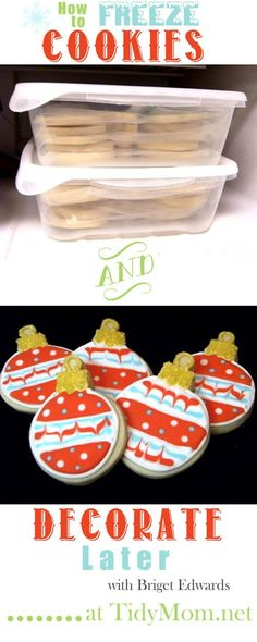 cookie tips Cookie freezing tips from cookie expert and author of Decorating Cookies, Bridget Edwards Frozen Cookies, Iced Cookies, Royal Icing Cookies, No Bake Cookies, Holiday Cookies, Christmas Sugar Cookies, Drop Cookies, Baking Cookies, Oatmeal Cookies
