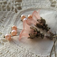 Flower Earrings, Peach Earrings, Easter Jewelry, Bridal Earrings, Bridal Jewelry, Gifts for Mothers, Vintage Style Jewerly on Etsy, $27.00