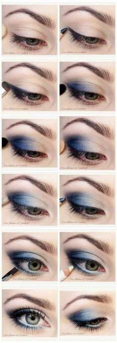 16 Graduation Makeup Tutorials You Can Wear with Confidence, 16 Commencement Make-up Tutorials You Can Put on with Confidence Do Blue Smokey Eyes Make Up Tutorials, Makeup Tutorial For Beginners, Beauty Tutorials, Beginner Makeup, Blue Makeup Looks, Blue Eye Makeup, Smokey Eye Makeup, Makeup Eyeshadow, Silver Eyeshadow